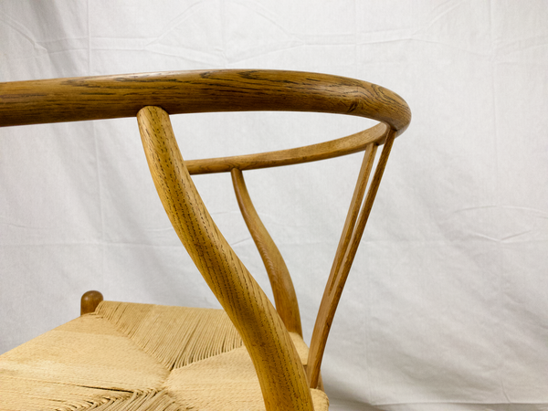 Back of White Oak and Papercord Wishbone Chair by Hans Wegner