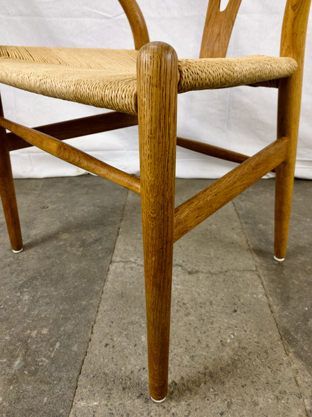 Legs of White Oak and Papercord Wishbone Chair by Hans Wegner