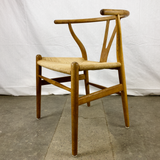 Angled View of White Oak and Papercord Wishbone Chair by Hans Wegner