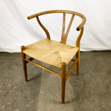 Angled Top View of White Oak and Papercord Wishbone Chair by Hans Wegner