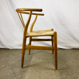 Side View of White Oak and Papercord Wishbone Chair by Hans Wegner