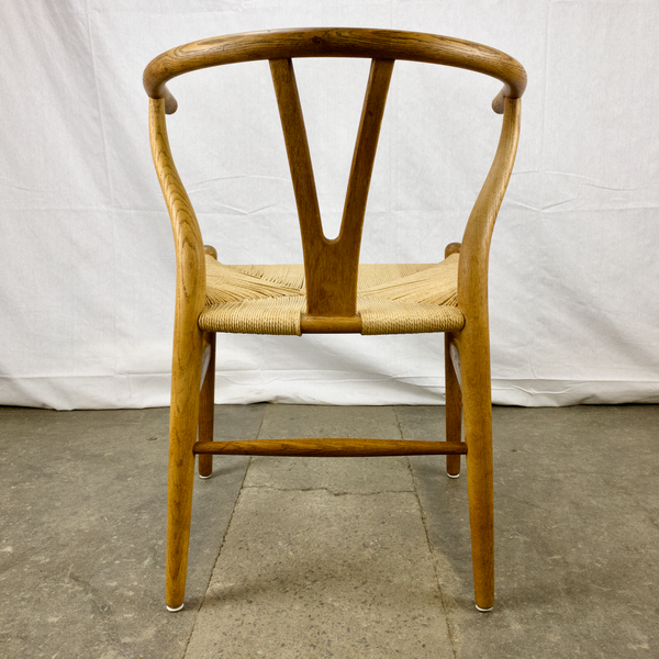 Back Side of White Oak and Papercord Wishbone Chair by Hans Wegner