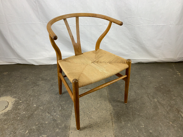 White Oak and Paper Cord Wishbone Armchair by Hans Wegner
