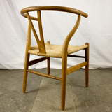 Angled Back Side View of White Oak and Papercord Wishbone Chair by Hans Wegner