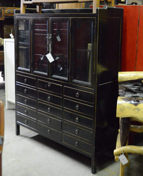 Oriental Black Glass Cabinet