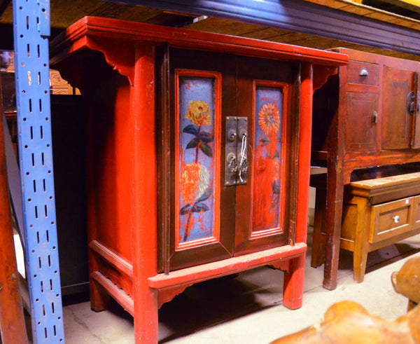 Oriental Red Cabinet With Flowers