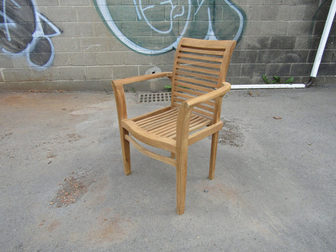Solid Teak Outdoor Jepara Stacking Armchair
