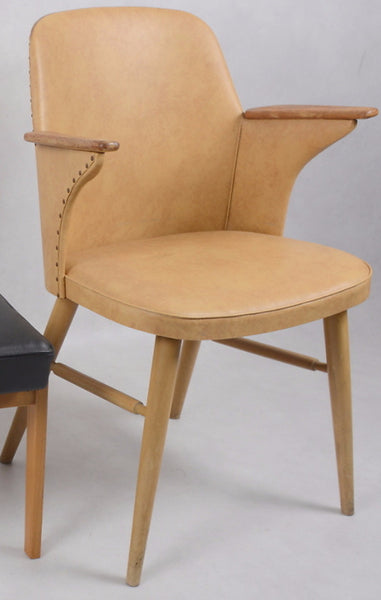 Beige Leather Armchair with Wood Arms and Legs