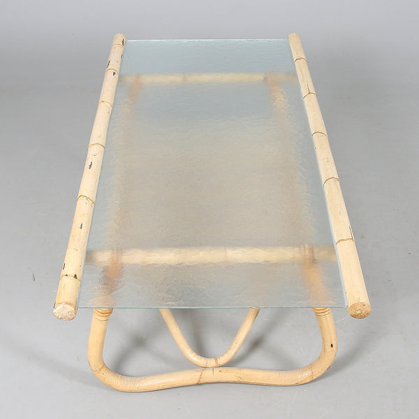 Top View of Bamboo Coffee Table with Glass Top