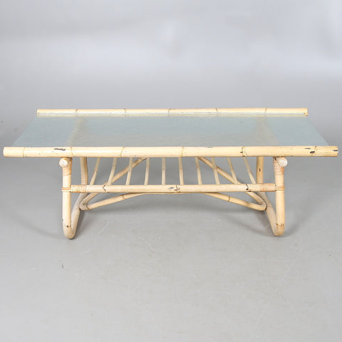 Bamboo Coffee Table with Glass