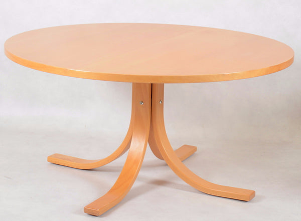Beech Coffee Table with Curved Legs