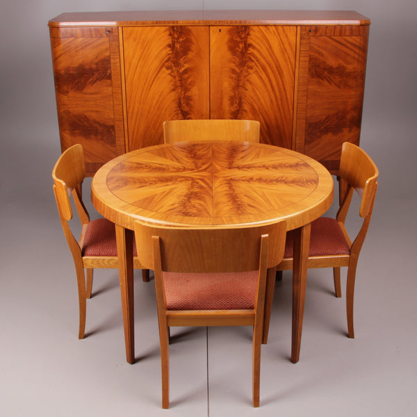 Beautiful Round Birch Dining Table with Matching Chairs and Cabinet