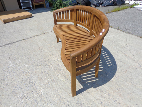 Solid Teak Outdoor Banana Bench