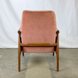 Teak Armchair with Dusty Pink Velour Upholstery