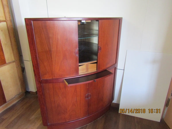 Rosewood Corner Cabinet with Mirrored Bar and Melamine Shelf and Tambour Doors
