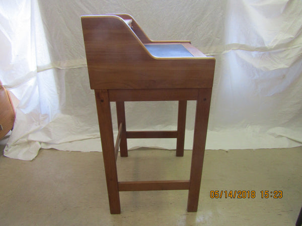 Solid Teak Standing Desk from Denmark with Leather Insert