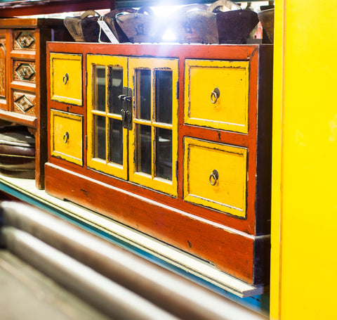 Oriental Yellow / Red Low Cabinet