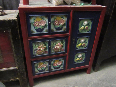 Red and Blue Painted Antique Cabinet with Painted Floral Carvings