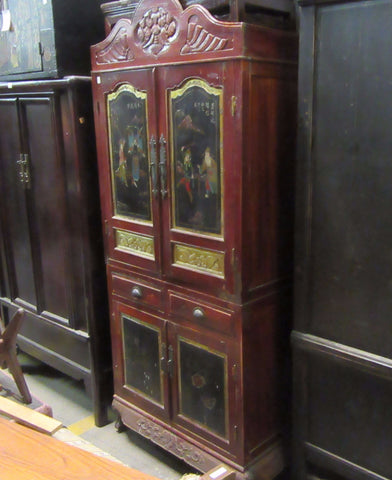 Red Painted Antique Cabinet with Painted Art Doors