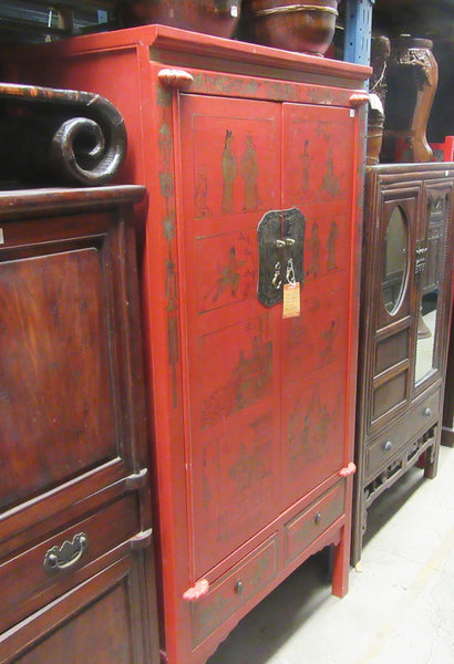 Red Antique Cabinet with Metal Faceplates
