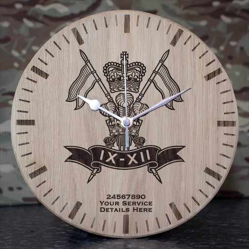 9th12th Lancers Oak Clock