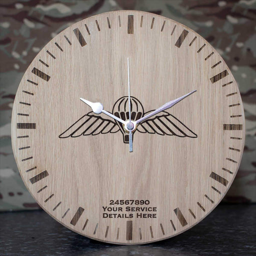 Airborne Wings Oak Clock