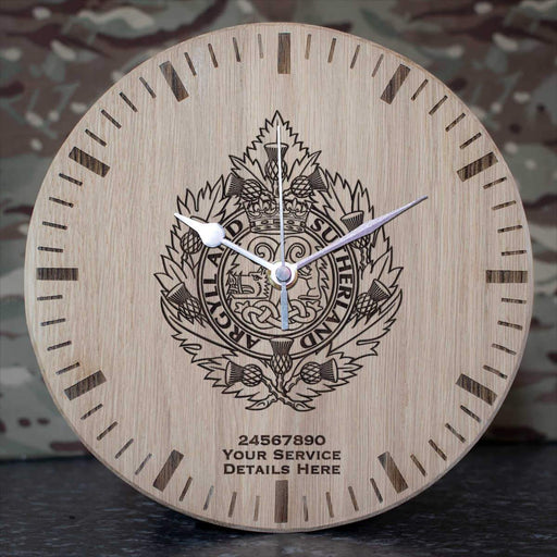 Argyll and Sutherland Highlanders Oak Clock