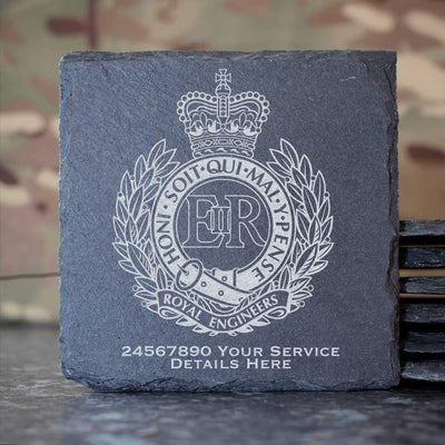 Royal Engineers Slate Coaster