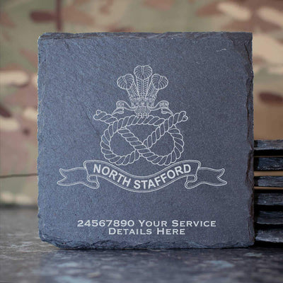 North Staffordshire Regiment Slate Coaster