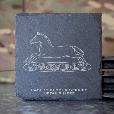 Prince of Wales own Regiment of Yorkshire Slate Coaster