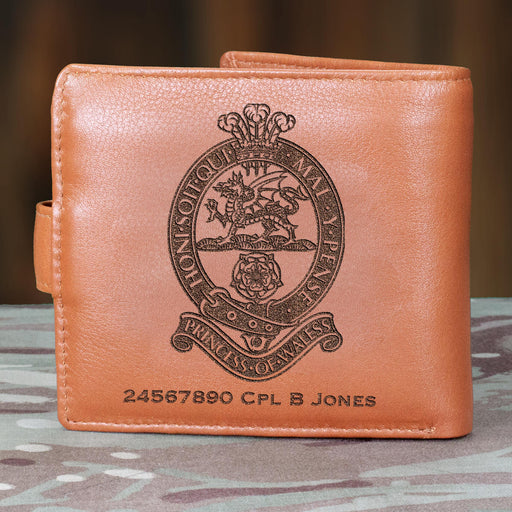 Princess of Wales Royal Regiment Personalised Leather Wallet (043)