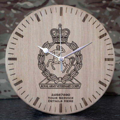 Royal Army Veterinary Corps Oak Clock