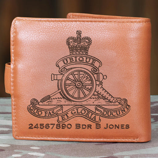 Royal Artillery Personalised Leather Wallet (055)-Military Covers