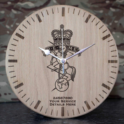 Royal Electrical and Mechanical Engineers Oak Clock