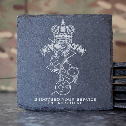 Royal Electrical and Mechanical Engineers Slate Coaster