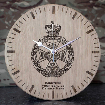 Royal Green Jackets Oak Clock