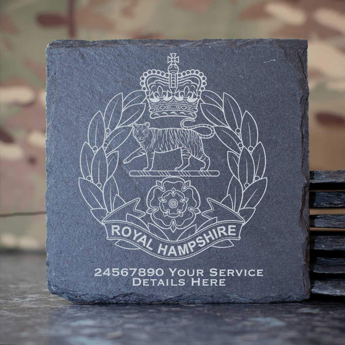 Royal Hamshire Regiment Slate Coaster