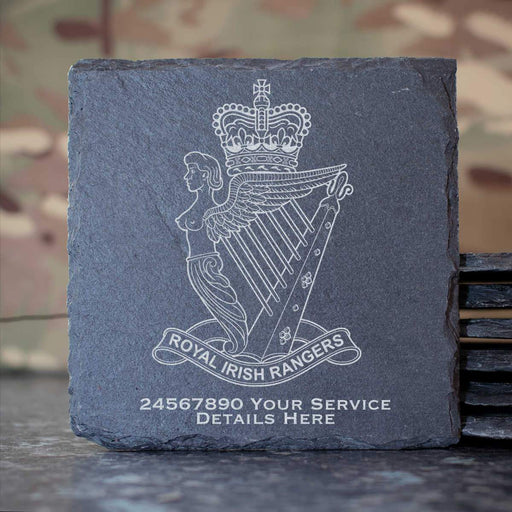 Royal Irish Rangers Slate Coaster