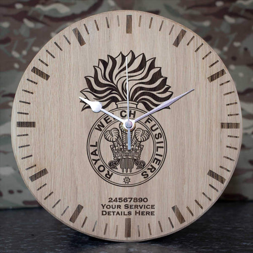 Royal Welch Fusiliers Oak Clock