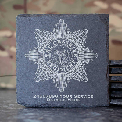 Cheshire Regiment Slate Coaster