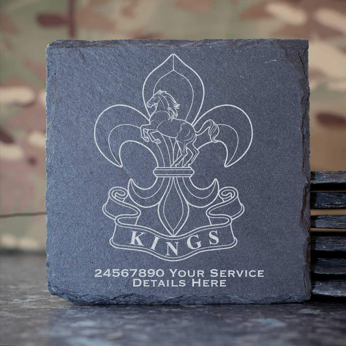 Kings Regiment Slate Coaster