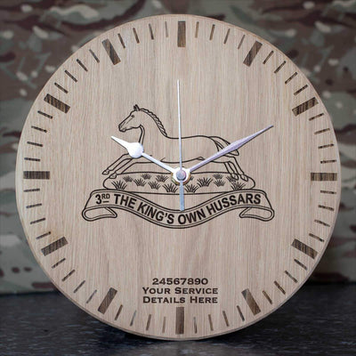 3rd Kings Own Hussars Oak Clock