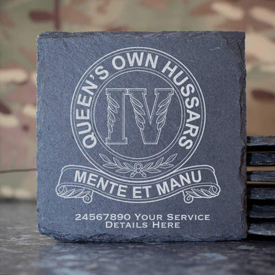 4th Queens Own Hussars Slate Coaster