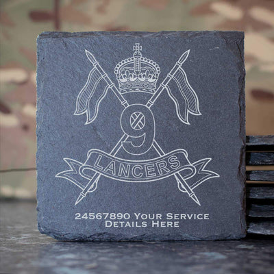 9th Queens Royal Lancers Slate Coaster