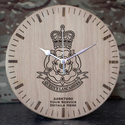 Queens Lancashire Regiment Oak Clock