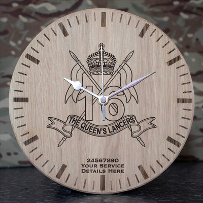 16th The Queens Lancers Oak Clock