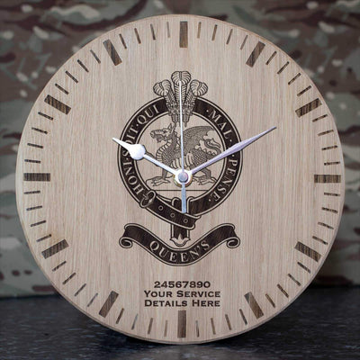 Queens Regiment Oak Clock