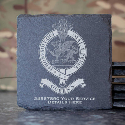 Queens Regiment Slate Coaster
