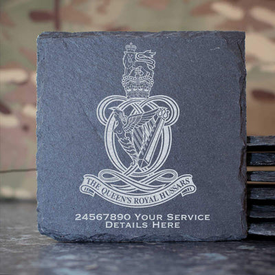 Queens Royal Hussars Slate Coaster