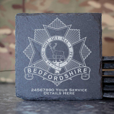 Bedfordshire Regiment Slate Coaster